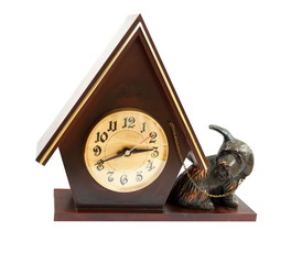 An isolated doghouse clock with a guard dog