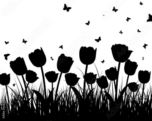 Poster Bloemen zwart wit meadow silhouettes