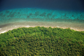 Maldivian island aerial view