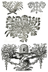 Set of vintage design elements. Based on skans of 18 century mag
