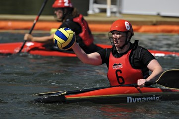 Woman Throwing Ball At The Canoe Polo World Championships