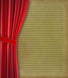 Red curtain and Old paper
