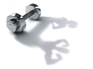 dumbbell with man and woman shadow