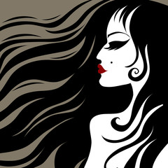 Vector closeup portrait of a girl with beautiful hair