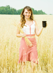Girl  with beer at cereals