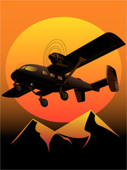 illustration of turboprop aircraft at sunset
