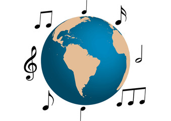 Music illustration around the world