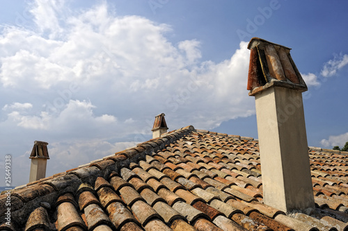 Typical italian rooftiles as widly used in Italy, Verucchio