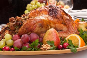 holiday roasted stuffed turkey with tasty garnish