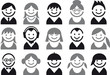 people vector icon set - 25653390