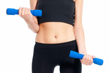 Unrecognizable young woman fitness exercise dumbbells isolated poster