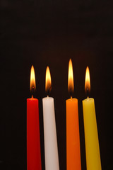 Colored Candles On Dark