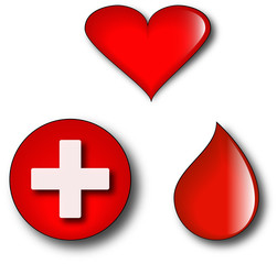 Conceptual logos of blood donation