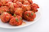 Fototapety meatballs in tomato sauce on white background