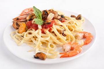 serving of pasta with marinara sauce and seafood