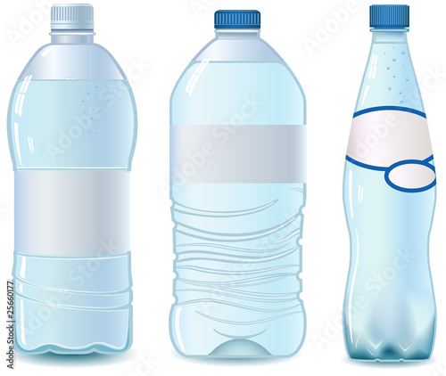 Three Empty plastic bottle. Vector. No transparency