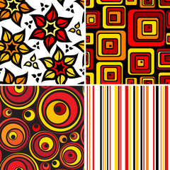 Set of stylish seamless geometric and floral backgrounds
