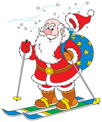 Santa Claus skiing with Christmas presents in his bag