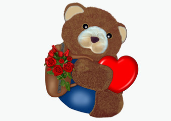 Orsacchiotto con cuore e rose