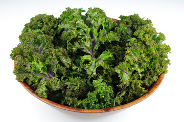 Red Kale, Wood Bowl