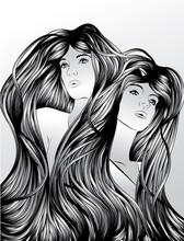 Twins with interlocking hair