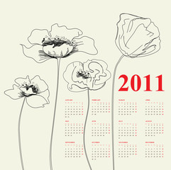 Calendar for 2011 with poppy flowers