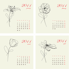 Calendar with flowers for 2011. Part 1