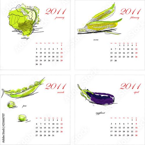 Template for calendar 2011. Vegetable. Part 1