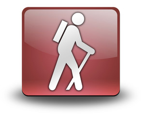 "Red 3D Effect Icon ""Hiking"""