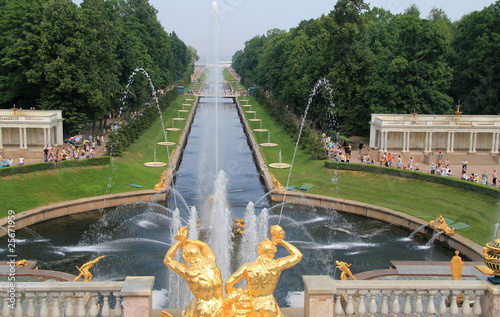 fountains and park at Peterhof Palace