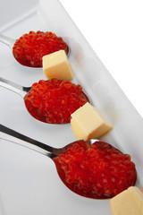 salmon caviar on spoons