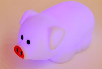 veilleuse cochon fluorescent rose