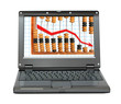 laptop with decrease diagram and abacus