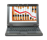 laptop with decrease diagram and abacus poster