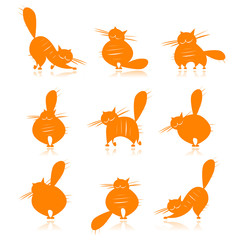 Funny orange fat cats silhouettes for your design