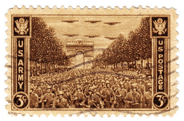 USA show USA Army in Paris in 1945 year