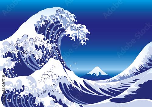ベクター: 波・富士山・浮世絵 ... : 無料フォトフレーム素材 : 無料