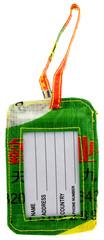 porte-étiquette signalétique bagages, fond blanc