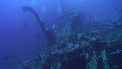 Technical divers exploring the Red Sea shipwreck the Aida,