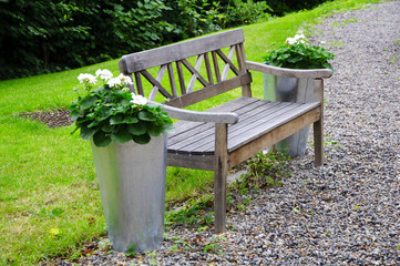 Bench with flowers in the park