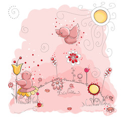 Pink birds on sunny day