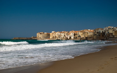 Sicily Cefalu view from the beach