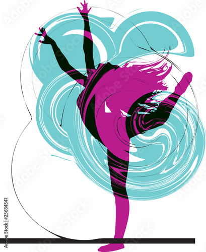 Acrobatic girl illustration - 25684541