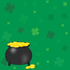 Pot with gold coins. Vector illustration.
