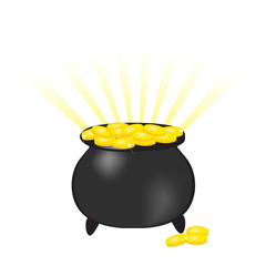 Pot with gold coins. Vector.