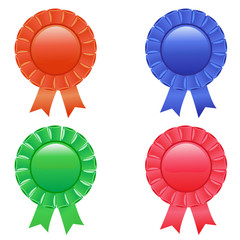 Award rosettes in four colour. Vector.