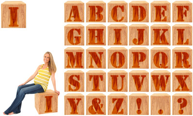 Wood Engraved Alphabet Blocks with Pregnant Woman