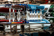 colorful aviation jet engine cross section model