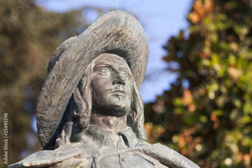 Leinwanddruck Bild statue de d'Artagnan à Auch, portrait.