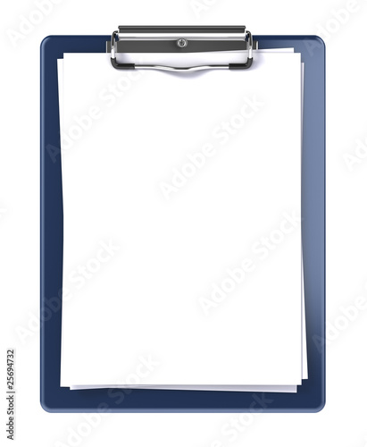 Blank clipboard isolated on white